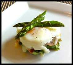 Poached Egg, Asparagus, & Prosciutto Stacks | Honey Ghee and Me