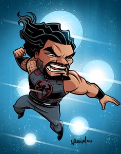 Roman Reigns by Nolan Harris Wrestling Posters, Boxing Posters, Wrestling Wwe, Roman Reigns Logo, Wwe Roman Reigns, Roman Reigns Drawing, Roman Reigns Superman Punch, Cartoon Drawings, Lucha Libre