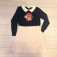 sweet 'upholstered' embroidery sweater w collar + high pocket skirt
