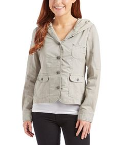 Another great find on #zulily! Glacier Gray Button-Up Hooded Jacket #zulilyfinds