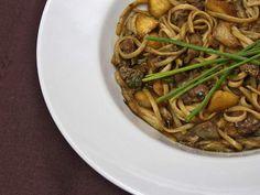 Receta Plato : Tallarines con foie, setas y manzana por Dviciobarcelona
