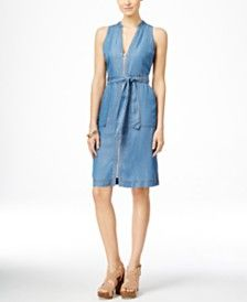 INC International Concepts Sleeveless Front-Zip Denim Dress, Only at Macy's