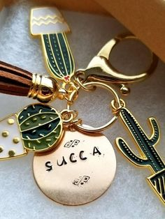 Succulent Key Ring Cactus Keychain Boho Party Favors