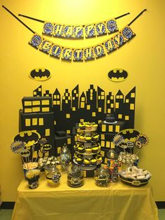 Yellow and black Batman birthday party! See more party ideas at CatchMyParty.com!