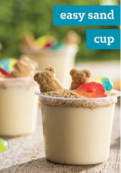 Easy Sand Cup – You'll need just four ingredients and five minutes to make this tasty treat. Easy, delicious and the kids are sure to have a great time helping you make them this summer!