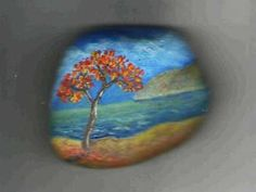painted rocks images | Fall landscapes painted on rocks, colorful accents for fall decorating