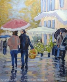 Artwork >> Pierre Vanmansart >> Market in the rain-Gironde Castillon la Bataille
