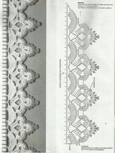Резултат с изображение за bicos e barrados de croche para pano de prato com grafico Crochet Border Patterns, Crochet Boarders, Crochet Stitches Chart, Crochet Lace Edging, Crochet Diagram, Thread Crochet, Filet Crochet, Crochet Designs, Crochet Doilies
