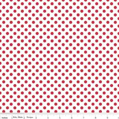 Riley Blake Small Dots fabric in Red on White by WhimsyQuilts, $9.00