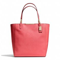 Coach  MADISON NORTH/SOUTH TOTE IN SAFFIANO LEATHER ~ Light Gold/Love Red #Coach #bag