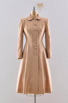 "Gabardine 40s coat / Lilli Ann ""New Look"" / Rare 1940s Princess Coat. $578.00, via Etsy."