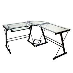 Iu0027m Learning All About Walker Edison Corner Desk: L Shaped Glass Corner Computer  Desk   Black/Clear At