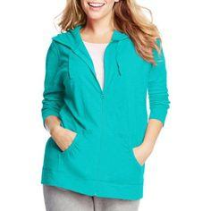 Just My Size Women's Plus-Size Slub Jersey Hoodie, Size: 1XL, Blue