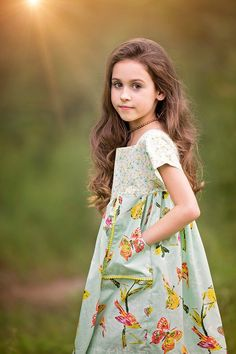 Dress made by Because of Brenna; Fabric by Art Gallery Fabrics Little Girl Dresses, Girls Dresses, Toddler Outfits, Kids Outfits, Kids Fashion, Fashion Outfits, Stylish Kids, Boho Gypsy, Simple Dresses