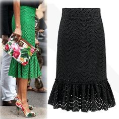 Lace Bodycon Slim Solid Long Skirt