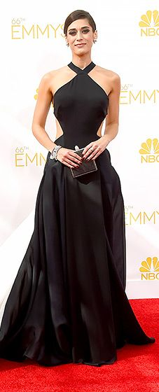 Lizzy Caplan wore a beautiful Donna Karen Atelier gown at the 2014 Emmys. Love the black and white!