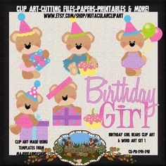Birthday Girl Clip Art - Birthday Clip Art - Teddy Bear Clip Art - Commercial Use Clip Art - Instant Download - Party Supplies by NutacularClipArt on Etsy