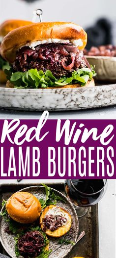 Red Wine Lamb Burgers are perfect for grilling season. Topped with caramelized onions, creamy goat cheese and peppery arugula. // recipe easy // ground // recipe grilling // seasoning // with goat cheese Lamb Recipes, Vegan Recipes, Dinner Recipes, Pie Recipes, Cookie Recipes, Dinner Ideas, Dessert Recipes, Easy Gluten Free Desserts, Homemade Desserts