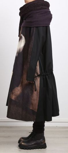 rundholz - Kleid Gabardine mit Bild black - Winter 2017 - stilecht - mode für…