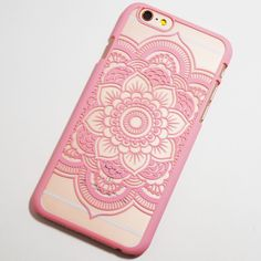 Pink Henna Flower iPhone 6 / 6S Hard Case - Boho Chic Mandala iPhone Cover