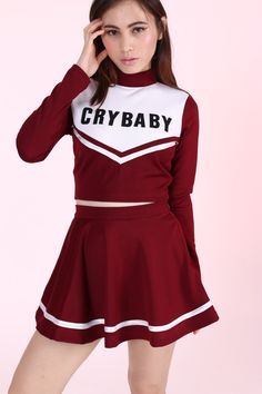 Glitters For Dinner Original Team Crybaby in new colour Maroon. Please allow 5-6 weeks for item to be shipped Top - plastic zipper at back. Skirt -...