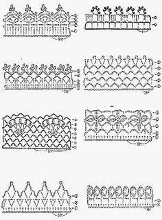 Uncinetto e crochet: Raccolta schemi per bordi e rifiniture ad uncinetto Crochet Art, Crochet Doilies, Crochet Stitches, Crochet Edgings, Creations, Fancy, Knitting, Pattern, Crafts