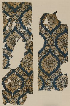 Textile Fragment with Ogival Pattern Object Name: Fragment Date: 14th century Geography: Egypt or Syria Culture: Islamic Medium: Silk; lampas Accession Number: 46.156.17