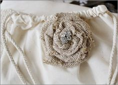 Burlap  flower pin crafts-and-diy