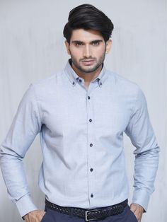 Light Blue Herringbone Shirt