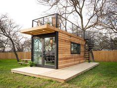 Looking for a tiny house or a cabin rental in Waco, Texas? Book this tiny house cabin and enjoy a unique combination of the two! Modern Tiny House, Tiny House Cabin, Tiny House Living, Tiny House Design, Container House Plans, Container House Design, House With Balcony, Tiny House Exterior, Casas Containers