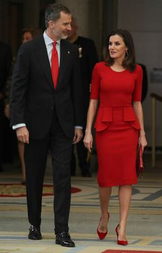 Queen Letizia in stunning red Carolina Herrera Peplum Dress for Annual  Sports Awards 80dc82fc1d