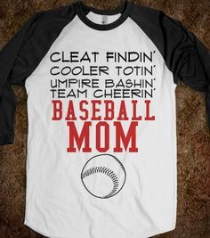 BASEBALL MOM - glamfoxx.com - Skreened T-shirts, Organic Shirts, Hoodies, Kids Tees, Baby One-Pieces and Tote Bags