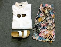 Summer shorts, white shirt, white sliders, sunnies. Outfit by :-   Numph,  French Connection,  Vero Moda, Pieces.