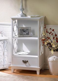WHITE MOROCCAN LATTICE CUTWORK STORAGE CABINET WITH DRAWER DECOR~10015985 #Moroccan