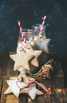 Bottles with milk for Santa by Foxys on @creativemarket
