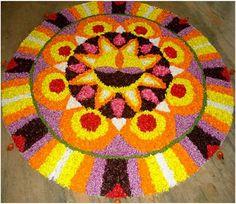 50 Best Pookalam – Indian Floral Design For Onam Festival Easy Rangoli Patterns, Rangoli Designs Flower, Rangoli Designs With Dots, Flower Rangoli, Beautiful Rangoli Designs, Flower Designs, Kolam Designs, Onam Pookalam Design, Onam Wishes