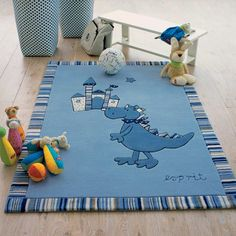Children carpet Play carpet Baby rug Young Star Moon in blue light blue turquoise size 80x150 cm