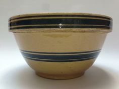 Fine Quality Antique Stoneware Mixing Bowl Blue And Orange Stripe