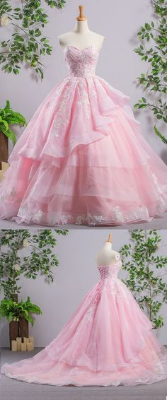 On Sale Glorious Light Pink Prom Dresses Exquisite A-Line Light Pink Strapless Organza Cheap Evening Prom Dresses With Lace Princess Prom Dresses, Pink Prom Dresses, Cheap Prom Dresses, Quinceanera Dresses, Ball Dresses, Evening Dresses, Dress Prom, Pink Ball Gowns, Long Dresses