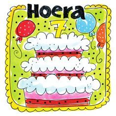 7 Jaar. Blond Amsterdam, Art Academy, Happy Birthday Wishes, Holidays And Events, Party Time, Clip Art, Teaching, Artwork, Cards