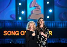 2014 MusiCares Person of the Year Carole King and nominee Sara Bareilles present the GRAMMY for Song Of The Year on the 56th Annual GRAMMY Awards on Jan. 26 in Los Angeles