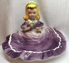 Rare Vintage 1950's HB Japan Porcelain Trinket Box Girl Lady Dancer Figurine T5  | eBay