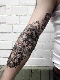 mandala flowers by Philippe Hernandez #arm #tattoos