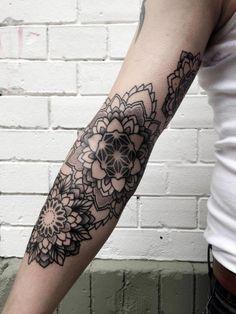 mandala flowers by Philippe Hernandez #arm #tattoos