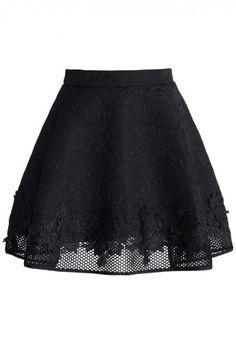 Black Sheer Trim Skirt