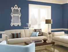Classic blue painted living room.