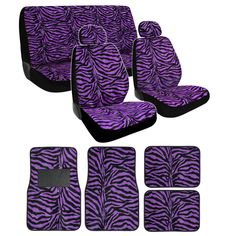 13pc Animal Fur Print Seat Covers & Floor Mats Set - Purple Zebra