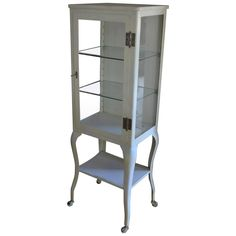 Apothecary Dental Medical Steel and Glass Antique Cabinet with Cabriole Legs 1 Glass Shelves, Wall Shelves, Apothecary Cabinet, Antique Cabinets, Cool Furniture, Furniture Storage, Furniture Ideas, Bathroom Renos, Guest Bath