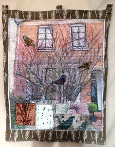 Bird Tree Hanging by Anne Kelly Textiles . Free Motion Embroidery, Embroidery Art, Machine Embroidery, Creative Textiles, Fabric Pictures, House Quilts, Bird Tree, Textile Artists, Fabric Art