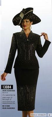 "Donna Vinci Knits 13084 Elaborate All Over Rhinestone 2pc Suit  Colors: Black/Gold Jacket Length: 25"" Skirt Length: 31"" Size: 8, 10, 12, 14, 16, 18, 20, 22 Matching Hat Donna Vinci 13084H"